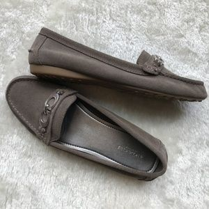 Coach Fortunata Suede Tan/Grey Driving Loafers 8.5